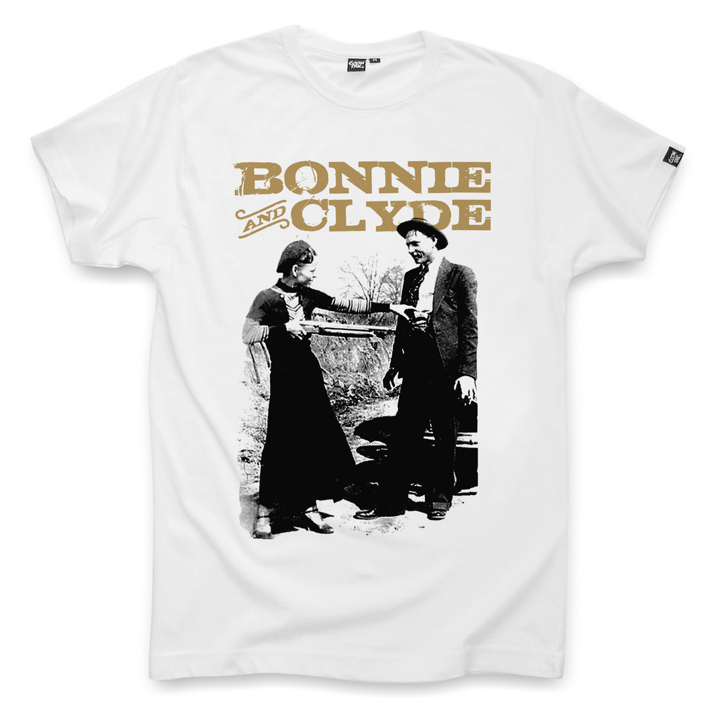 t shirt for men bonnie and clyde white by coontak