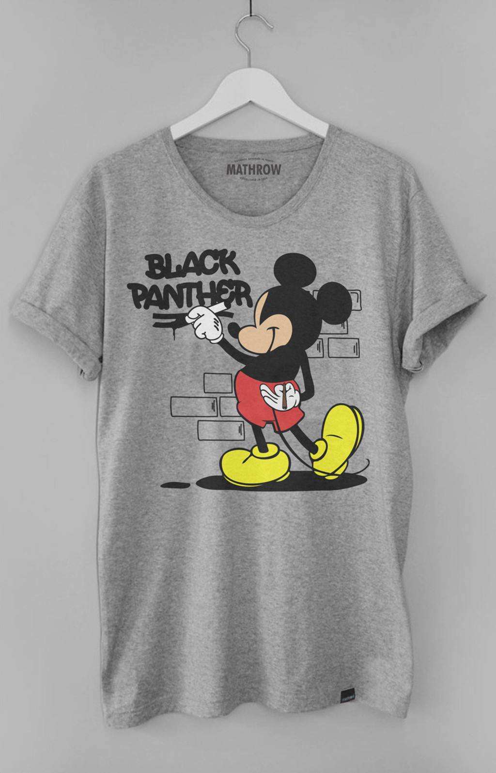 t shirt homme mickey graffiti gris by mathrow. Black Bedroom Furniture Sets. Home Design Ideas